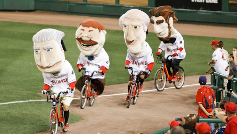 Presidents ride bikes for the newly launched Capital Bikeshare