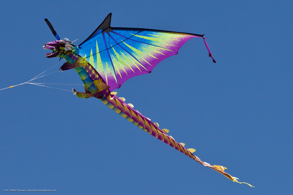 Dragon Kite Flying at Morro Bay CA Kite Festival 30 April 2011